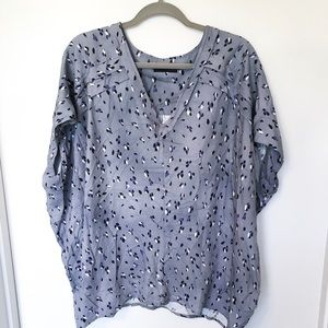 Hatch Maternity Purple Gray Leopard Print Blouse